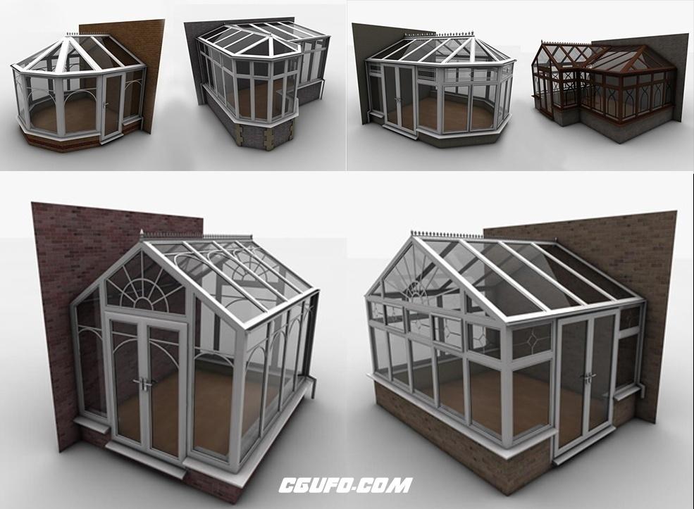 15个培植植物的花房温室C4D模型 Cinema4D Conservatory Collection