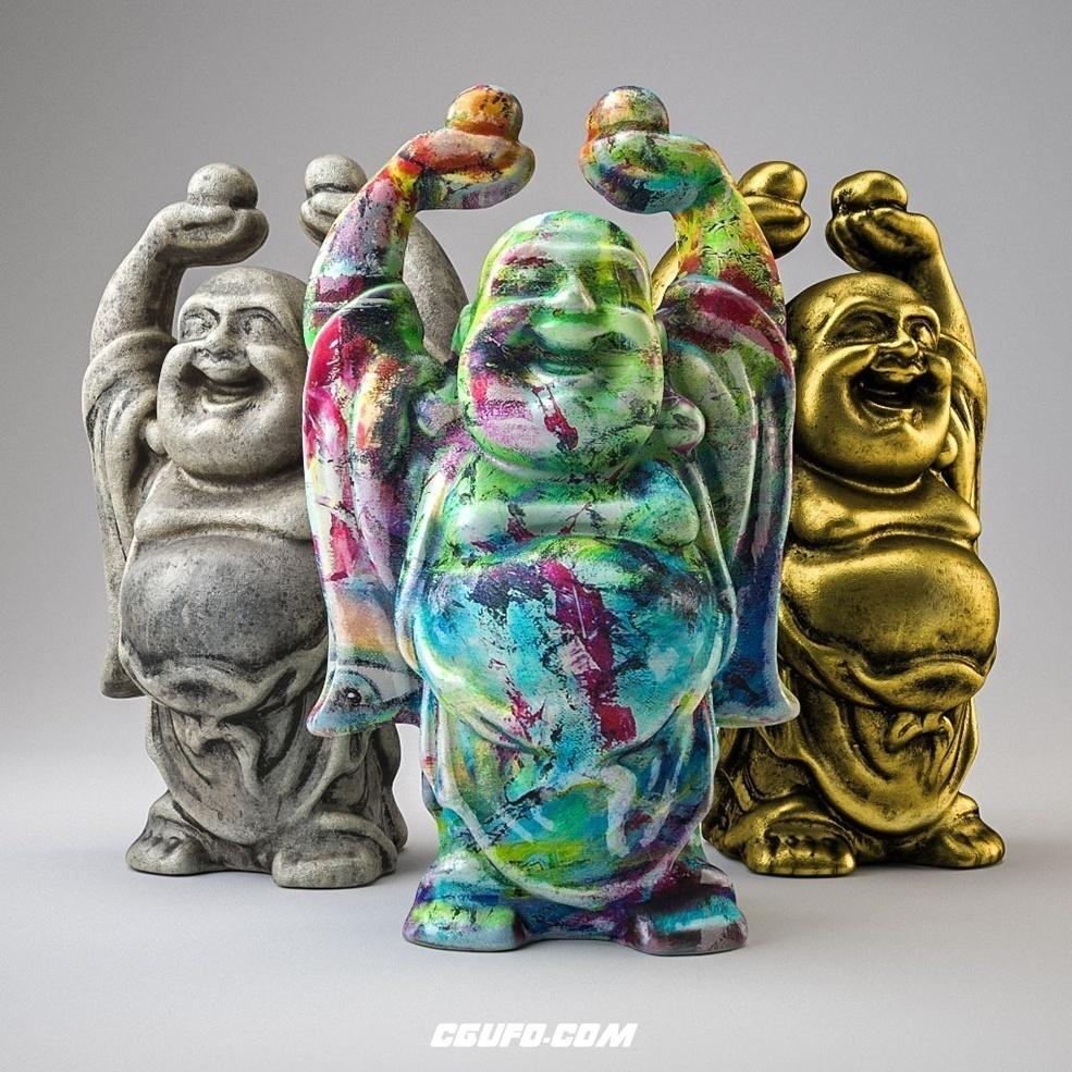 弥勒佛 佛像塑像C4D模型 BUDDHA3个佛像均为贴图材质