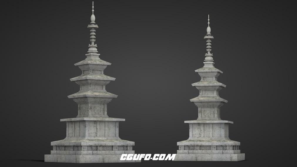 古塔C4D模型 pagoda 3d model