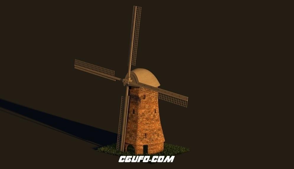 旋转的风车C4D模型 Cinema4D Windmill 3D Model