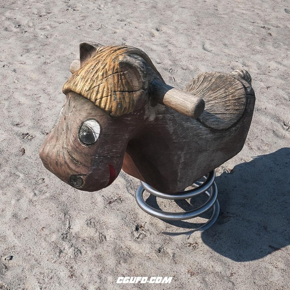 沙滩上的弹簧木马玩具C4D模型 HORSE SPRING SWING[包含会员内容]