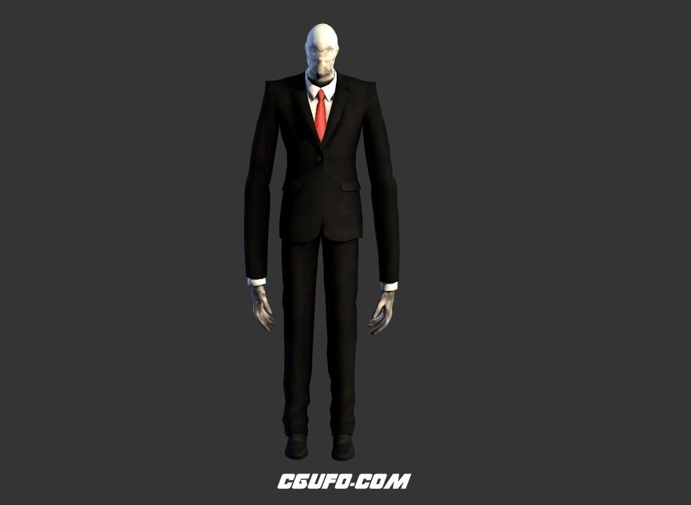 瘦长鬼影-神秘人C4D游戏模型 Slender The Arrival Slenderman Model