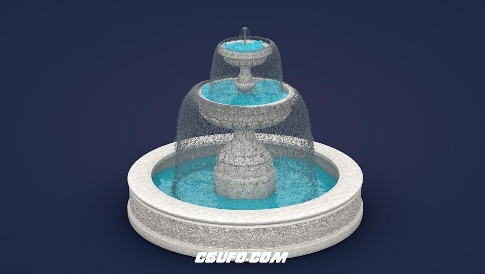 欧式喷泉C4D模型 Fountain 3d model
