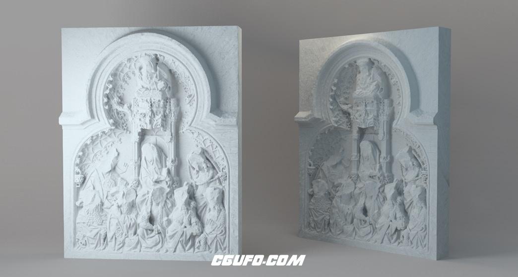 圣马丁大教堂浮雕墙C4D模型 St. Anna Retable[包含会员内容]