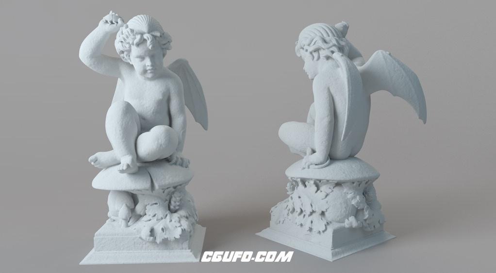 坐在蘑菇上的长翅膀的小天使雕塑C4D模型 Puck