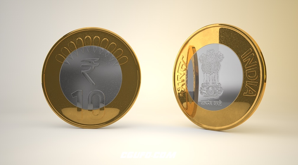 10卢比的印度硬币C4D模型 10 Rupee Indian coin c4d Model
