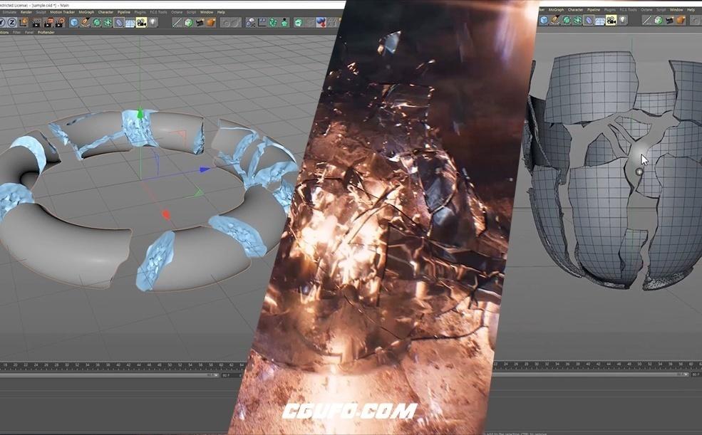 C4D+Houdini模拟物体破碎(含工程文件)Voronoi Houdini Asset for Cinema4D