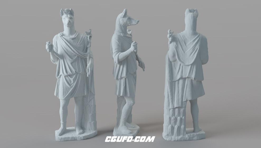 梵蒂冈博物馆人身兽头石头雕塑C4D模型 Vatican Museums Hermanubis