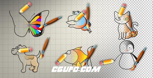 7803动物卡通动画高清视频素材带Alpha通道,Animal Cartoon Paint