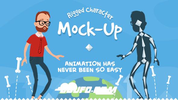 7833卡通人物角色动画AE模版,Rigmo – Rigged Character Animation Mockup