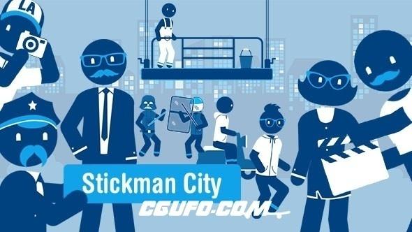 7844卡通角色人物动画AE模版,Stickman City – Explainer Video Kit