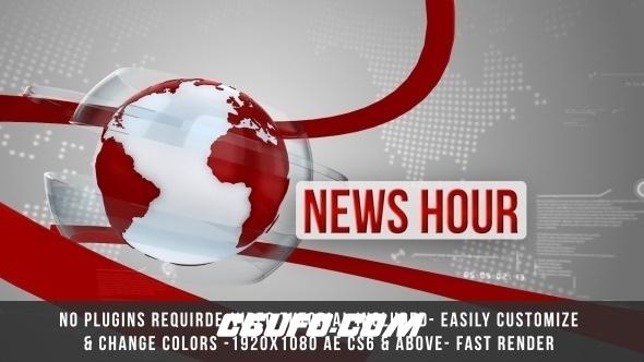 7847新闻电视栏目包装片头动画AE模版,Global News Intro Title