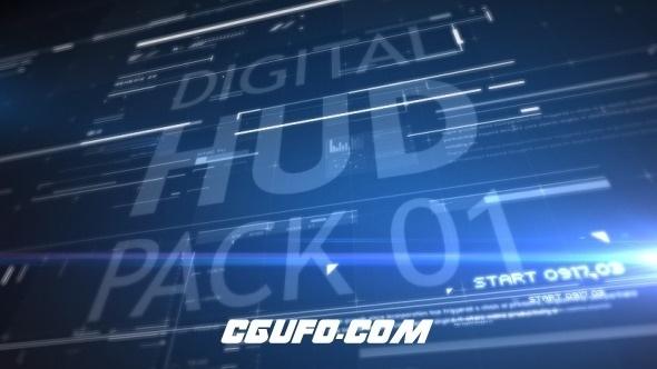 7854高科技感元素片头动画AE模版,HUD Pack 01
