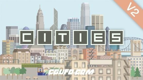 7858城市楼房建筑景点汽车MG动画元素包AE模版,Cities Animation