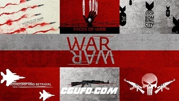 7875战争文字标题创意MG片头动画AE模版,War Titles Sequence