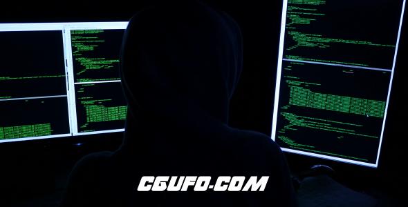 7879网络忍者黑客视频素材,Hacker In Front Of Monitor's Computer