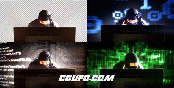 7880网络忍者黑客视频素材,Hacker In Front Of Monitor's Computer