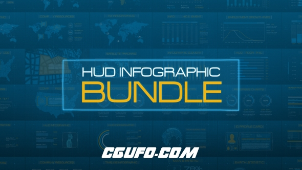 7892高科技HUD界面数据图表视频包装动画AE模版,HUD Infographic Bundle