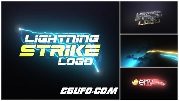 7905雷电闪电炫光特效动画AE模版,Lightning Strike Logo