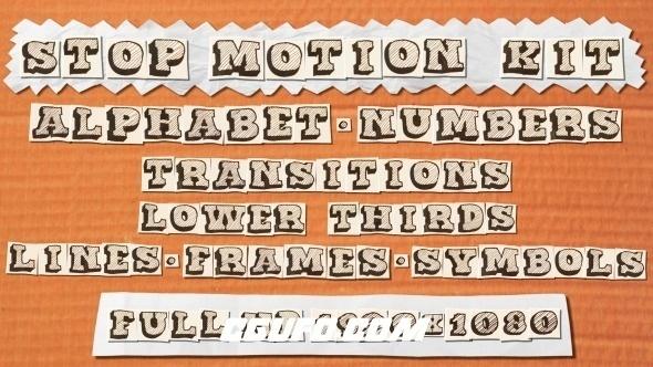 7923创意卡通文字特效动画AE模版,Stop motion Kit