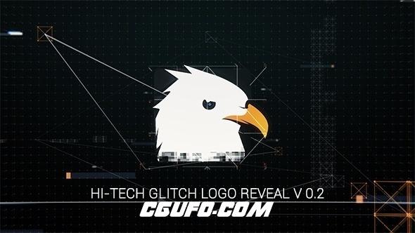 7925高科技特效logo演绎动画AE模版,Hi-Tech Glitch Logo Reveal
