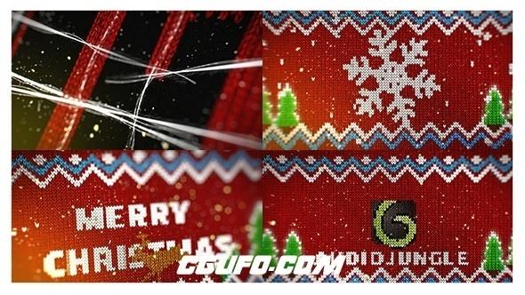 7933圣诞节毛衣Logo片头动画AE模版,Knitted Christmas Sweater Logo Reveal