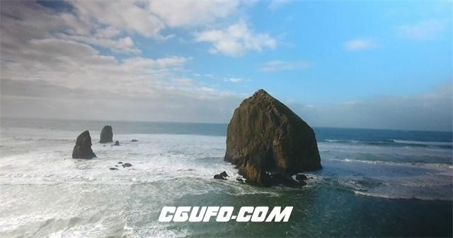3589-4K岛礁岩石海水蓝天白云高清实拍视频素材