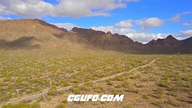 7842-4K在沙漠山区的汽车驾驶路边仙人掌高清实拍视频素材