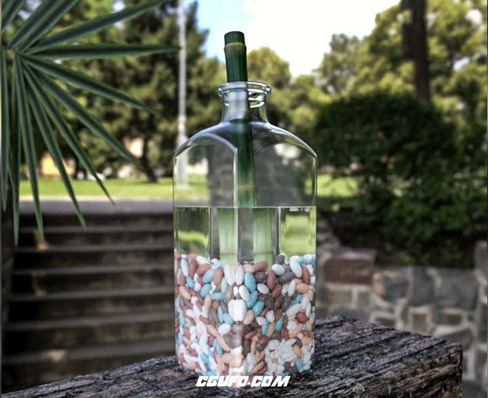 C4D制作一个玻璃瓶装满石子的场景教程 Bamboo and Stones Cinema 4D Tutorial