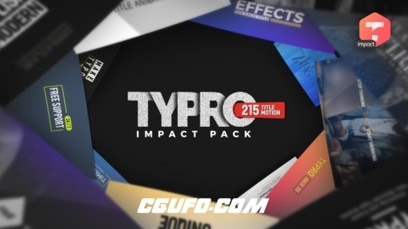 8029-215组创意文字标题动画素材包AE模版AE脚本,Typro – ImpactPack | 215 Title Animations