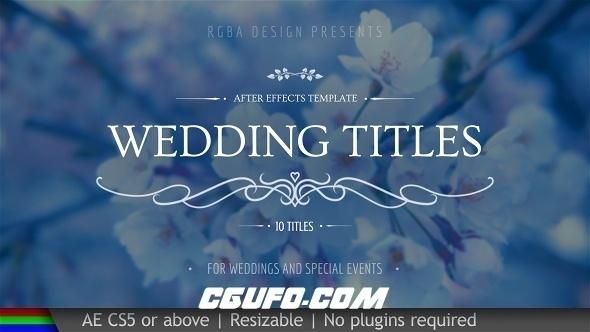8037婚礼文字标题动画AE模版,Wedding Titles