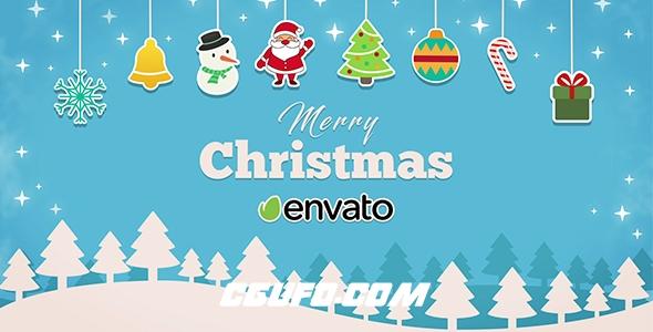 8039圣诞节节日宣传视频动画AE模版,Short Christmas Intro