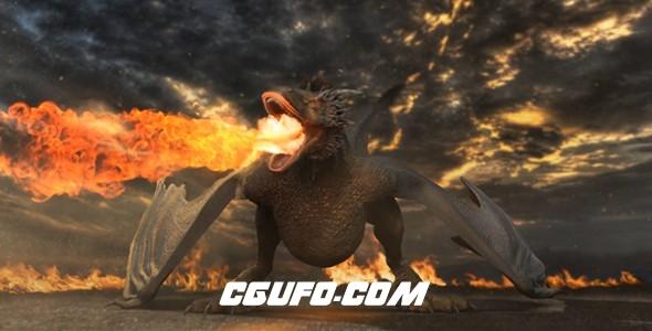 8045烈火燃烧恐龙特效logo演绎动画AE模版,Dragon Logo Reveal