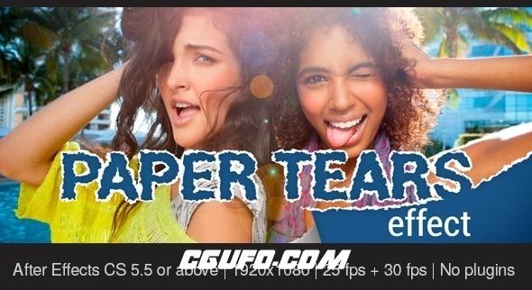 8054纸张撕裂图片展示动画AE模版,Paper Tears