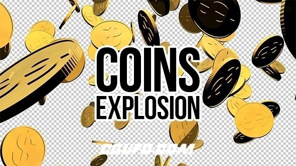 8055-3D金色硬币炸开动画高清视频素材,Paper Tears