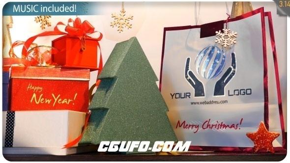 8065圣诞礼物logo演绎动画AE模版,Christmas Gifts Logo – Storefront Digital Signage