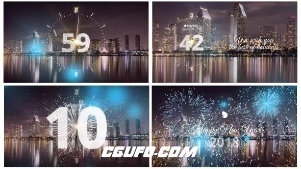 8077-2018新年元旦圣诞节倒计时片头动画AE模版,Silver New Year Countdown 2018