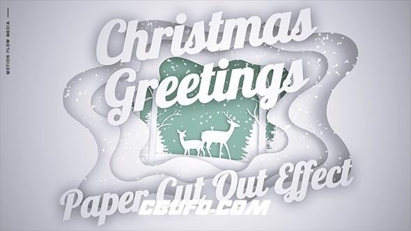 8079卡通圣诞节节日祝福雪景特效动画AE模版,Christmas Greetings – Paper Cut Out
