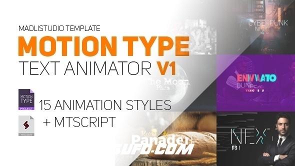 8081创意文字特效动画AE脚本AE模版,Motion Type – Text Animator (v1) [Cracked]