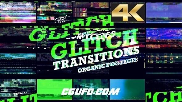 8090-20组信号损坏画面撕裂4K高清视频素材,Glitch Transition 4K