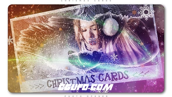 8091圣诞节卡片相册动画AE模版,Christmas Cards Photo Opener