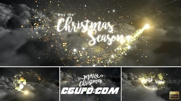 8092圣诞节粒子特效文字标题动画AE模版,Christmas