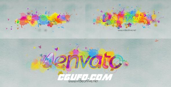 8096水彩泼撒Logo演绎动画AE模版,Logo Revealer Paint Drops Design