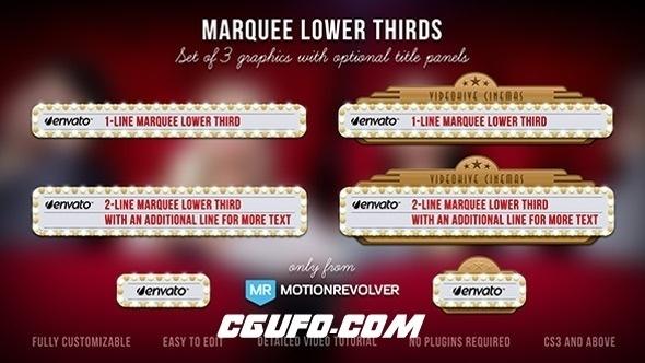 8108霓虹灯文字标题动画字幕条AE模版,Marquee Lower Thirds