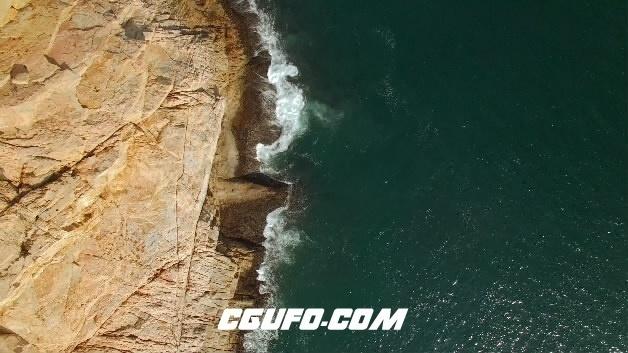 3844-4K航拍海浪冲击岸边岩石高清实拍视频素材