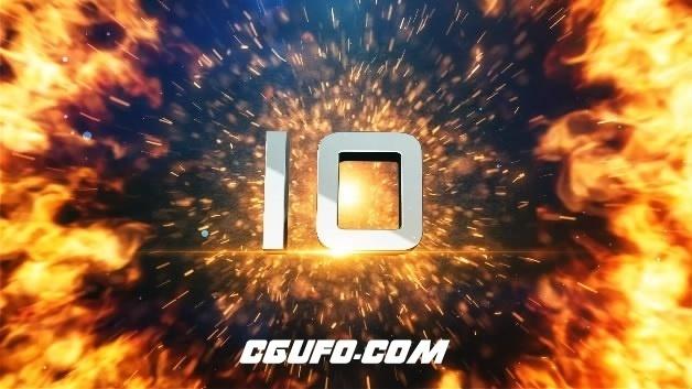 3D数字火焰冲击波10秒倒计时视频素材