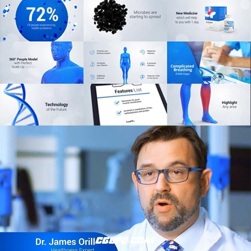 团购第11期医疗科技生物医学和卫生保健宣传视频包装动画AE模版