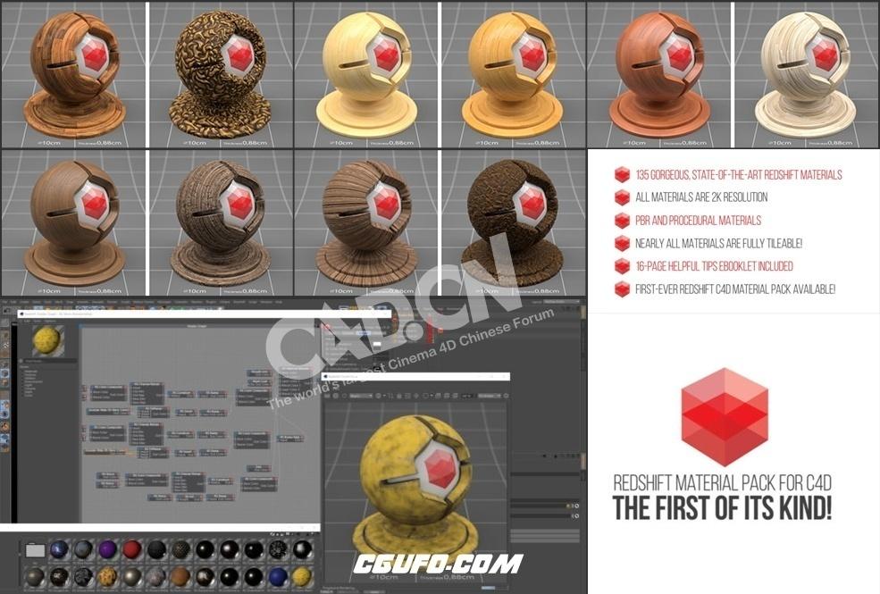 135个C4D Redshift渲染器材质预设The Pixel Lab – Redshift C4D