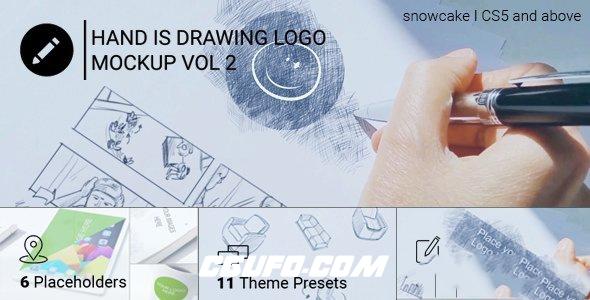 8205手绘logo演绎动画AE模版,Hand Is Drawing Logo Mockup Volume 2