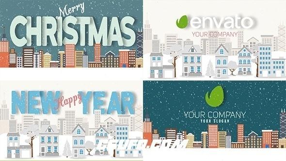 8218圣诞节新年文字标题logo演绎动画AE模版,Christmas and New Year Text with Logo Reveal